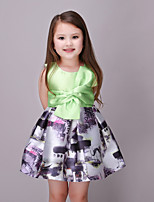 Girl's Casual/Daily Floral Dress,Cotton / Polyester Summer / Spring Green