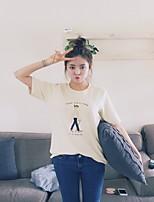 De las mujeres Simple Casual/Diario Verano Camiseta,Escote Redondo Estampado Manga Corta Algodón / Poliéster Blanco Fino