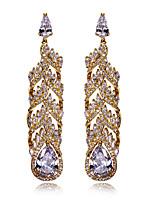 Women long Earrings Flower style Fashion 18K Gold plated & White Cubic Zircon Wedding Drop Earring
