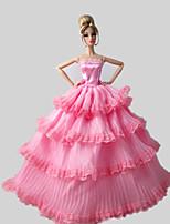 Poupée Barbie-Rose-Soirée & Cérémonie-Robes- enSatin / Dentelle