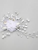 Mulheres / Menina das Flores Liga / Imitação de Pérola / Chifon Capacete-Casamento / Ocasião Especial Flores 1 Peça Branco Redonde