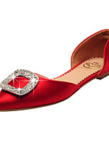 Women's Shoes Satin Flat Heel D'Orsay & Two-Piece / Pointed Toe / Closed Toe Flats Wedding / Party & Evening / Dress Red