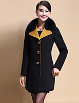 Women's Casual/Daily Simple Coat,Solid Shirt Collar Long Sleeve Fall / Winter Black / Yellow Polyester Medium