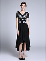 Lanting Bride Sheath / Column Mother of the Bride Dress Asymmetrical Short Sleeve Chiffon with Appliques