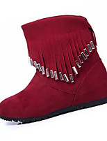 Women's Boots Winter Fashion Boots Fleece Casual Flat Heel Tassel Black / Red Others