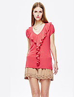 Heart Soul® Women's V Neck Short Sleeve T Shirt Coral-11AA27150