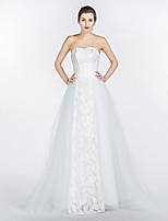 A-라인 웨딩 드레스 코트 트레인 끈없는 스타일 레이스 / 새틴 / 튤 와 레이스