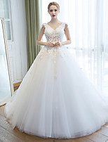 A-line Wedding Dress Court Train V-neck Organza with Appliques / Beading / Flower / Pearl
