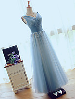 Formal Evening Dress A-line V-neck Floor-length Tulle with Beading / Side Draping