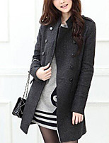 Women's Casual/Daily Simple Coat,Solid Stand Long Sleeve Fall / Winter Black / Gray Wool Thick