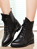 Women's Shoes Leather Fall / Winter Combat Boots Boots Casual Low Heel Lace-up Black