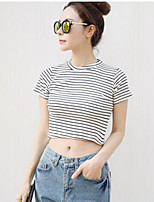 Women's Casual/Daily Active Summer T-shirt,Check Round Neck Short Sleeve White / Black Cotton / Spandex Thin
