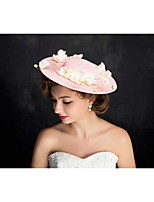 Women's Lace / Pearl / Flax Headpiece-Special Occasion Fascinators 1 Piece Beige Irregular 25
