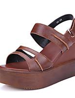 Women's Sandals Summer Wedges / Platform / Open Toe Cowhide Casual Wedge Heel Hook & Loop Brown