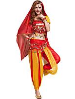 Dança do Ventre Roupa Mulheres Treino Chifon Lantejoulas 6 Peças Vermelho / Amarelo Dança do Ventre Manga Curta NaturalSaia / Braceletes