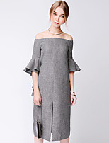 TAMMY TANGS Women's Street chic Solid Loose Dress,Boat Neck Midi Polyester