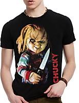 Print-Informeel / Sport-Heren-Katoen-T-shirt-Korte mouw Zwart