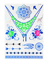 1pc Flash Metallic Waterproof Tattoo Blue Gold Silver Dreamcatcher Rose Temporary Tattoo Sticker BYH-006