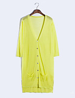 Women's Casual/Daily Street chic Long Cardigan,Solid Blue / Pink / Green / Yellow V Neck Long Sleeve Linen Summer Thin