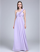 Floor-length Chiffon Bridesmaid Dress Sheath / Column One Shoulder with Flower(s) / Ruching