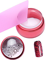 3.5cm Silicone Manicure Head Red Metal Transparent Flag Seal With Cover + Pink Rectangular Thin Blade