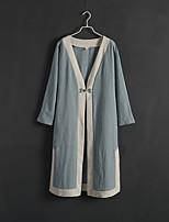 Impermeabile Da donna Casual Autunno Stoffe orientali,Tinta unita / Collage A V Cotone Blu Manica lunga Medio spessore