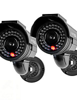 KingNEO301S Outdoor Solar Power Dummy Security Camera Simulated surveillance camera with Flash LED 2pc Black