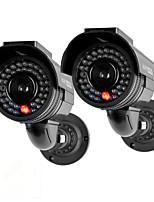 kingneo301s caméra de sécurité factice d'énergie solaire extérieure caméra de surveillance simulée avec flash LED 2pc noir