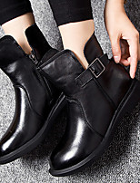 Zapatos de mujer-Tacón Bajo-Botas Anfibias-Botas-Casual-Cuero-Negro
