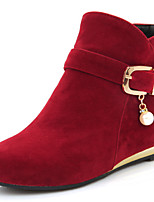 Women's Shoes Low Heel Fashion Boots / Round Toe Boots Dress / Casual Black / Yellow / Red
