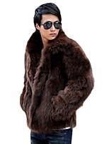 Men's Solid Casual / Plus Sizes Coat,Faux Fur Long Sleeve-Black / Brown / White