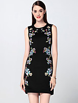 Boutique S Women's Going out Sophisticated Sheath Dress,Embroidered Round Neck Above Knee Sleeveless Black Cotton