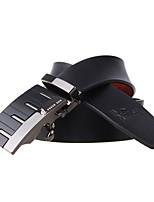 A4007-2 Men's Cowhide Belts Automatic Buckle High Grade Soft Leather Belt Black