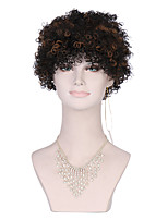 Fashionable Women's Glueless Deep Curly Short Hair Black Wig for African American Synthetic Hair Wig.