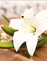 Hi-Q 1Pcs 3 Heads Real Touch Pvc Artificial Lily Silk Decorative Flower For Wedding Decoration Gift Artificial Flowers