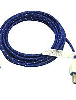 3m 10ft stof gevlochten geweven micro-USB-oplaadkabel data sync-kabel voor samsung htc sony telefoons (blauw)