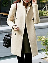 Women's Casual/Daily Simple Coat,Solid Notch Lapel Long Sleeve Fall Beige Wool Medium