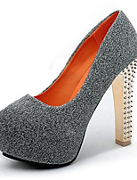 Women's Heels Summer Heels Fleece Casual Chunky Heel Sequin Black / Blue / Gray Others