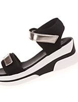Women's Sandals Summer Sandals PU Casual Wedge Heel Hook & Loop Silver / Gold Others
