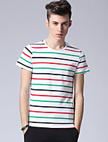 Men's Striped Casual T-Shirt,Cotton / Spandex Short Sleeve-Multi-color