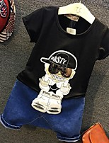 Boy's Casual/Daily Jacquard Clothing Set,Cotton Summer Black