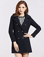 Women's Casual/Daily Simple Coat,Solid Shirt Collar Long Sleeve Spring Blue Polyester Thick