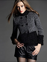 Women's Going out Cute Coat,Patchwork Round Neck Long Sleeve Fall / Winter Black Wool / Acrylic / Polyester Thick