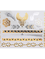 1pc Flash Tattoo Metallic Gold Silver Temporary Wing Flower Bracelet Waterproof Tattoo Sticker YH-115