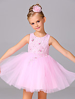 A-line Knee-length Flower Girl Dress - Satin / Tulle Sleeveless Jewel with