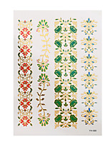 1pc Flash Metallic Tattoo Gold Waterproof Bohemian Women Flower Temporary Tattoo Sticker YH-088
