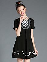 Women's Elegant High Bead Embroidered Patchwork Lace Color Block Plus Size Party Dress