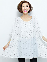 Women's Casual/Daily Simple Summer Blouse,Polka Dot Round Neck Short Sleeve White / Black Polyester Thin
