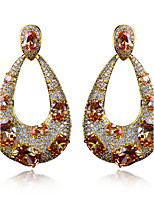 New Fashion Womens Earrings 18K Gold Plated & 4 Colour Cubic Zirconia Drop Earrings Wedding Accessories Gift