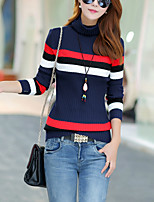 Women's Casual/Daily Cute Regular Pullover,Color Block Blue / Brown Turtleneck Long Sleeve Cotton Fall Medium